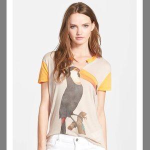 Wildfox woodpecker printed T-shirt in Orange